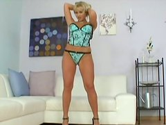 Tall blondie Cindy Dollar seduces a man and sucks his strong cock