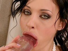 Gigantic dildo penetrates Aletta Ocean's tight pinkish snatch