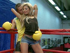 Two wrestlers unite to fuck stunning blonde babe Ioana
