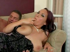 Buxom brunette in corset Lea Magic sucks a delicious lollicock for cum