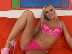 Girlie Bree Olson gets rid of her bra and sucks a black cock