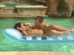 Exotic beauty Capri Cavalli gets cunnilingus and blows dick by the pool