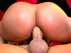Perfectly rounded butts of Brittney Skye and Shyla Stylez bouncing on a strong cock