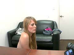 Blonde Emma Ash gives a head and gets rammed from behind on a casting