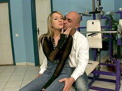 Blonde wench Blue Angel gets her firm nipples squeezed and her feet licked