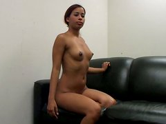 Redhead teen Julissa James sucks the dick and gets poked hard from behind