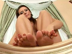 Adorable cutie with sex feet Nedra strokes her soaking muff
