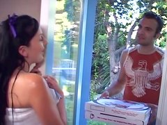 Classic scenario where sexy babe Renee Pornero fucks the pizza guy