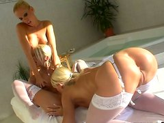 Pure angels Sandy, Dorina  and Clara G going wild on the massage table