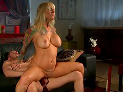 Blond sex machine Janine Lindemulder gets fucked doggy toughly