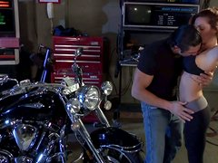 Cock addicted cutie Kirsten Price sucks her biker's massive cock