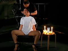 Hot wax tortures with bounded brunette gal Bellina