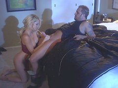 Horny milf slut Jessica Drake gives a blowjob and gets rammed from behind