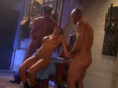 Hardcore threesome fuck with Alektra Blue getting fed with a double portion of jizz