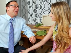 Too slim blondie Kennedy Nash enjoys stimulating her clit near the dinner table