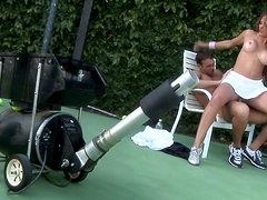 Monique Fuentes fucks hard on a outdoors tennis loan