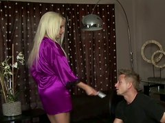 Curvy blonde Diana Doll uses jerks off her man's dick with both hands