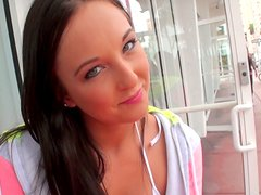 Adorable brunette cutie Adrianna Lily blows cock after a walk