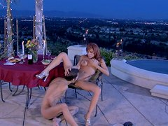 Romantic dinner with busty Kirsten Price turns into a solid deepthroat