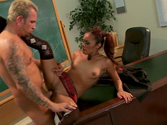Dirty and slutty student Kaylani Lei gets poked hard by her school teacher