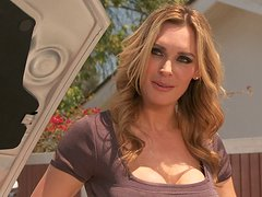 Buxom blondie Tanya Tate rides a stiff cock toughly