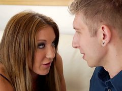 Smart friend of Amy Brooke challenges her to give blowjob