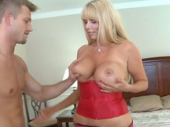 Appetizing chubby cougar Karen Fisher seduces stud by her forms