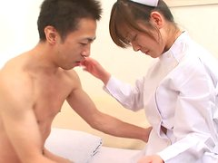 Horny patient seduces the nurse Miina Minamoto and pleases her cunt