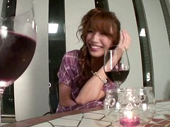 A glass of wine induces Japanese nympho Aya Sakuraba to ardent masturbation