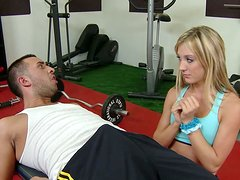 Amy Brooke is attracted to the big cock in the shorts of athletic gym stud