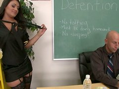 Stewardess Charley Chase comes to the career day at school and sucks deepthroat a teacher's cock