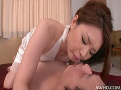 Japanese bride China Mimura gives blowjob on her wedding night