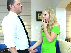 Blonde teen whore Lexi Belle blows the cock of her dad's friend