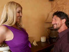 His face sinks in Athena Pleasures' big boobs