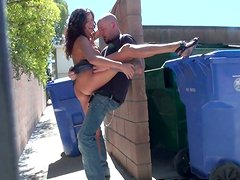 Take out the trash and watch the trashy slut giving blowjob outdoors