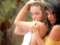 Two hot chicks got caught in summer rain