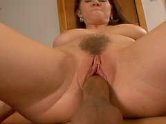 Wild housewife Rayveness rides cock and fucks missionary style