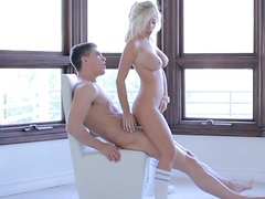 Tasha Reign, curvy young blonde whore gives a head, rides hard cock and fucks doggystyle.