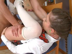Pussy fuck is not enough for a horny schoolgirl in uniform