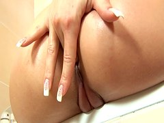 Anus and cunt fingerfuck with hot Aiden in the bathroom