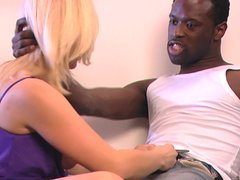 Beautiful blonde Kathy Sweet is going interracial