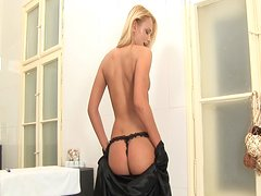 Beautiful long blonde Ivana strips in the bath