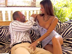 Hot brunette Lucky gives blowjob to her boss