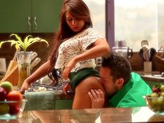 Hot Madison Ivy got her pussy fingered in the kitchen