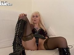 Blonde Mature Masturbates with Dildo in her Lingerie