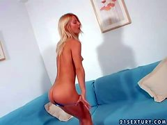 Tanned amateur blonde teen with firm buns and long whorish