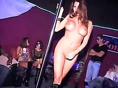 Sexy busty babe Nicole Graves dancing on a stripping pole