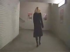 Golden-Haired exhibitionist stuffs her butt on the train