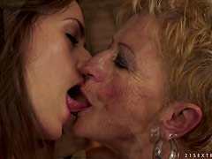 Short-Haired Granny Having Hot Lesbian Sex with Pretty Teen