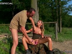 Outdoors Sex and Blowjob with Horny Babe with Pumped Pussy